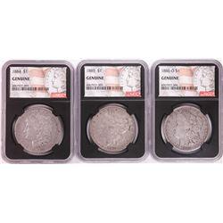 Lot of 1884, 1885, & 1886-O $1 Morgan Silver Dollar Coins NGC Genuine