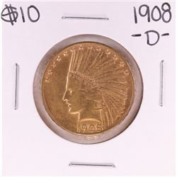 1908-D Motto $10 Indian Head Eagle Gold Coin