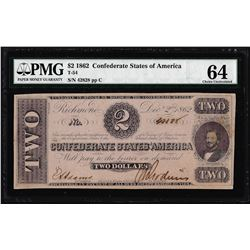 1862 $2 Confederate States of Note T-54 PMG Choice Uncirculated 64
