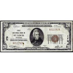 1929 $20 First NB of St. Louis, MO CH# 170 National Currency Note