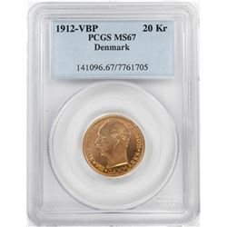 1912-VBP Denmark 20 Kroners Gold Coin PCGS MS67