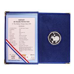 "1988 Disney Mickey ""The Mickey Mouse Club, 1955"" 1 oz. Fine Silver Round w/Box & COA"