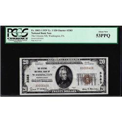 1929 $20 NB of Washington, PA CH# 3383 National Currency Note PCGS About New 53PPQ