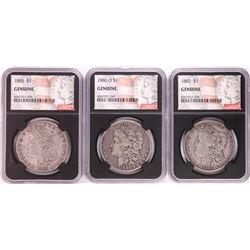 Lot of 1885, 1886-O, & 1887 $1 Morgan Silver Dollar Coins NGC Genuine