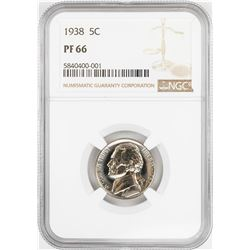 1938 Proof Jefferson Nickel Coin NGC PF66