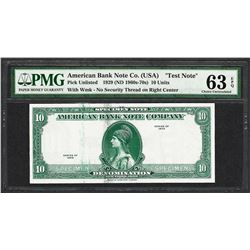 "1929 10 Unit American Bank Note Co. ""Test Note"" PMG Choice Uncirculated 63EPQ"