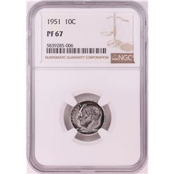 1951 Proof Roosevelt Dime Coin NGC PF67