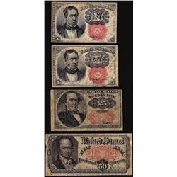 Lot of (4) Fifth Issue Fractional Currency Notes