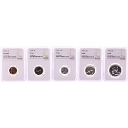 1958 (5) Coin Proof Set Graded NGC PF66/67