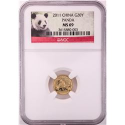 2011 China 20 Yuan Panda Gold Coin NGC MS69