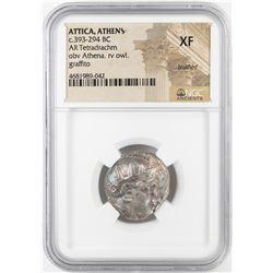 393-294 BC Attica Athens AR Tetradrachm Athena Owl Coin NGC XF