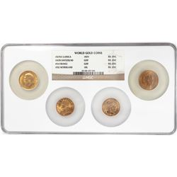 (4) World Gold Coins '27 South Africa '47 Swiss '14 France '32 Netherland NGC Uncirculated