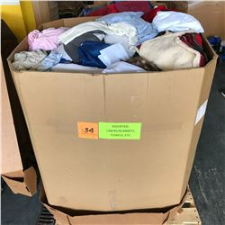 Contents of Large Tri-Wall Box: Linens, Blankets, Towels, etc.