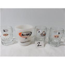 1 A&W Cup, 3 Minature A&W Mugs