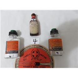 4 Old Drugstore Bottles And First Aid Chart Cost 60 Cents Rowes PA Peoples In Melfort