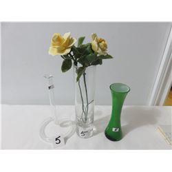 Single Flowers Vase, 1 Taller Vase With Porcelain Flowers