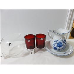 Minature Basin Set- Two Red Goblets, 1 Etched Pitcher