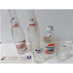 Pepsi Bottle 1 300 ml 1-1961-1952, Two Glasses, 1 Envelope Rose Beverage 1964