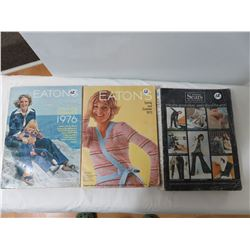 3 Old Catalogues, 2 Eatons 73 And 76 Sipson Sears Winter 71