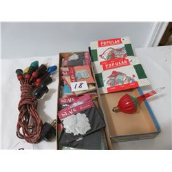 Old Christmas Decoration Lights-1 Box Of Sticky Tags, 2 Packages Of Tags
