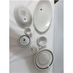 Restaurant Dishes-Old Ironstone Soap Dish, Demi Cup, Butter Pat Dish, Small Creamer