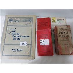 John Deere Handy Book, 1934, National Elevator Book 1935 & 1949, John Deere Pochet Ledgers 1949-63