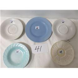 4 Medalta Small Plates, Sleepy Indian etc. Also Belleck Green Mark Saucer
