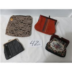 4 Lady Clutch Purses, Petty Point, Leather, Suede-Lace
