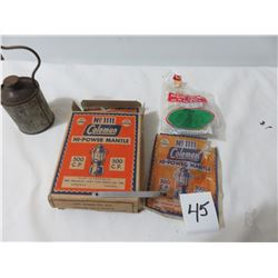 Box Of Mantles For Coleman Lamp, Tool For Cleaning Burner, Fuel Filler