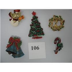 LOF OF 5 CHRISTMAS BROOCHES