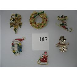 LOT OF 6 CHRISTMAS BROOCHES