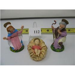 VINTAGE PLASTIC NATIVITY SCENE - Mary & Joseph (Italy) - Baby Jesus (Hong Kong)