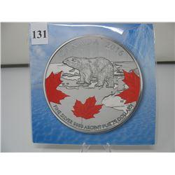 2016 CANADIAN $25 SILVER COIN - .9999 PURE SILVER - POLAR BEAR