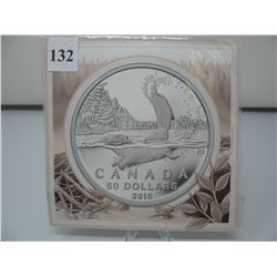 2015 CANADIAN $50 SILVER COIN - .9999 PURE SILVER - BEAVER