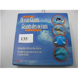 1998 OCEAN GIANTS SET - STERLING (925) SILVER 50 CENT COINS - SET of 4 COINS
