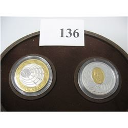 2001 MARCONI COIN SET - CANADIAN $5 COIN & ENGLISH 2 POUND COIN - Sterling Silver & GOLD PLATED