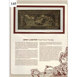 GOLD BANK NOTE - ANTIGUA & BARBUDA - SPINY LOBSTER - 30 DOLLARS - LEGAL TENDER