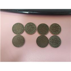 Lot of 7 Canada One Cent 1 Penny 1876 Queen Victoria Large cent