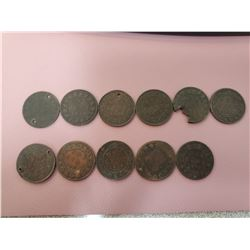 Lot of 11 Canada One Cent 1 Penny Queen Victoria Large cent