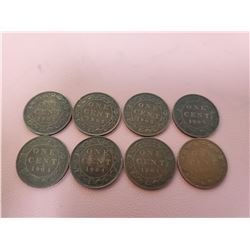 Lot of 8 Canada One Cent 1 Penny King Edward VII G+ 1902, 1903, 1904, 1905
