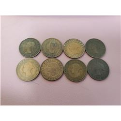 Lot of 8 Prince Edward's Island 1871 Cents coins Queen Victoria KM-4