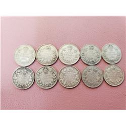 Lot of 10 Canada 10 cent Silver Nice Lot Highly Collectable