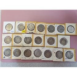 Lot of 20 Canada fifty cent 50 cent half dollar mostly UNC some BU and EF 1968 (2), 1969 (5), 1972 (