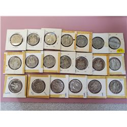 Lot of 20 Canada fifty cent 50 cent half dollar mostly UNC some BU and EF 1968 (1), 1971 (9), 1972 (