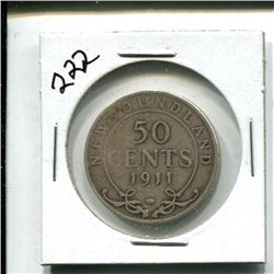 1911 Newfoundland 50 cents 50¢ fifty cent pice