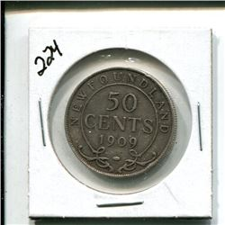 1909 Newfoundland 50 cents 50¢ fifty cent piece