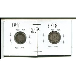 1891 5 cents 5¢ (hole punch) & 1918 10 cent 10¢