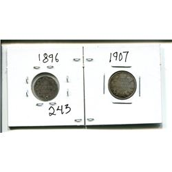 1896 5 CENTS 5¢ (hole punch) & 1907 Canada 10 cent 10¢