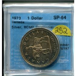Canada $1 One Dollar 1973 Silver, RCMP centennial graded SP-64 CCCS