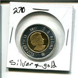 2011 Canada Toonie $2 Two Dollar silver & gold